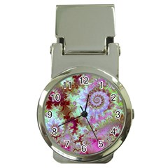 Raspberry Lime Delight, Abstract Ferris Wheel Money Clip Watch