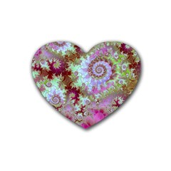 Raspberry Lime Delight, Abstract Ferris Wheel Heart Coaster (4 pack)