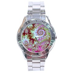Raspberry Lime Delight, Abstract Ferris Wheel Stainless Steel Analogue Men's Watch