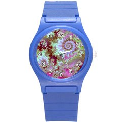 Raspberry Lime Delight, Abstract Ferris Wheel Round Plastic Sport Watch Small