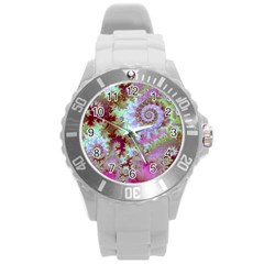 Raspberry Lime Delight, Abstract Ferris Wheel Round Plastic Sport Watch Large