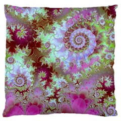 Raspberry Lime Delight, Abstract Ferris Wheel Large Cushion Case (two Sides)