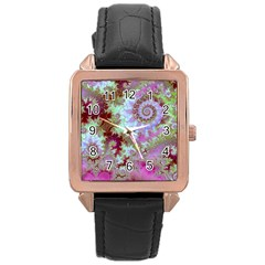 Raspberry Lime Delight, Abstract Ferris Wheel Rose Gold Leather Watch