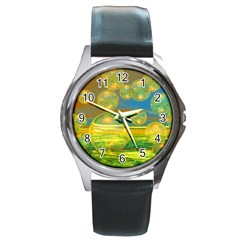 Golden Days, Abstract Yellow Azure Tranquility Round Leather Watch (Silver Rim)