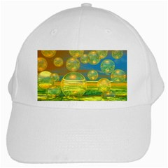 Golden Days, Abstract Yellow Azure Tranquility White Baseball Cap