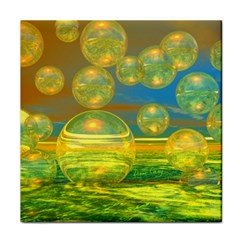 Golden Days, Abstract Yellow Azure Tranquility Ceramic Tile