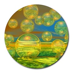 Golden Days, Abstract Yellow Azure Tranquility 8  Mouse Pad (Round)