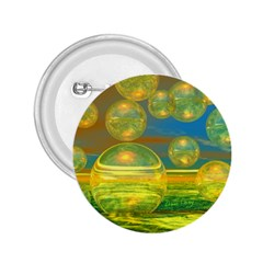 Golden Days, Abstract Yellow Azure Tranquility 2.25  Button