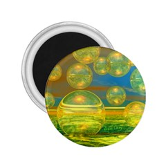 Golden Days, Abstract Yellow Azure Tranquility 2.25  Button Magnet