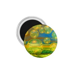 Golden Days, Abstract Yellow Azure Tranquility 1.75  Button Magnet