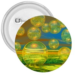 Golden Days, Abstract Yellow Azure Tranquility 3  Button