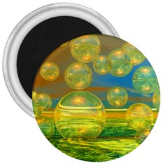 Golden Days, Abstract Yellow Azure Tranquility 3  Button Magnet