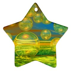 Golden Days, Abstract Yellow Azure Tranquility Star Ornament