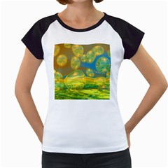 Golden Days, Abstract Yellow Azure Tranquility Women s Cap Sleeve T Shirt (white)