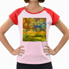 Golden Days, Abstract Yellow Azure Tranquility Women s Cap Sleeve T-Shirt (Colored)