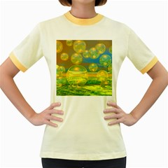 Golden Days, Abstract Yellow Azure Tranquility Women s Ringer T-shirt (Colored)