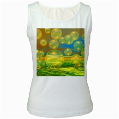 Golden Days, Abstract Yellow Azure Tranquility Women s Tank Top (White)