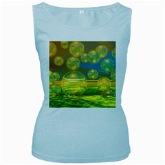 Golden Days, Abstract Yellow Azure Tranquility Women s Tank Top (Baby Blue)