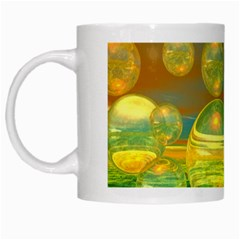 Golden Days, Abstract Yellow Azure Tranquility White Coffee Mug