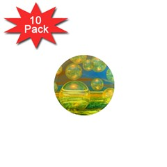 Golden Days, Abstract Yellow Azure Tranquility 1  Mini Button Magnet (10 Pack)