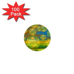 Golden Days, Abstract Yellow Azure Tranquility 1  Mini Button (100 pack)