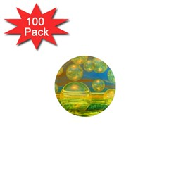 Golden Days, Abstract Yellow Azure Tranquility 1  Mini Button Magnet (100 pack)