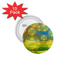 Golden Days, Abstract Yellow Azure Tranquility 1.75  Button (10 pack)
