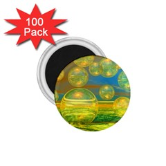 Golden Days, Abstract Yellow Azure Tranquility 1 75  Button Magnet (100 Pack)
