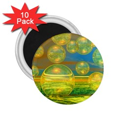 Golden Days, Abstract Yellow Azure Tranquility 2.25  Button Magnet (10 pack)