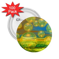 Golden Days, Abstract Yellow Azure Tranquility 2 25  Button (100 Pack)