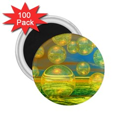 Golden Days, Abstract Yellow Azure Tranquility 2.25  Button Magnet (100 pack)
