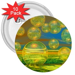 Golden Days, Abstract Yellow Azure Tranquility 3  Button (10 pack)