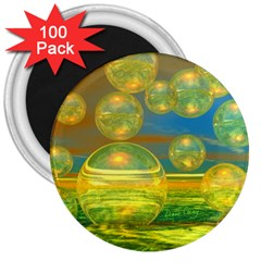 Golden Days, Abstract Yellow Azure Tranquility 3  Button Magnet (100 Pack)