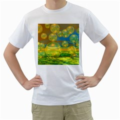 Golden Days, Abstract Yellow Azure Tranquility Men s Two-sided T-shirt (White)