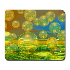 Golden Days, Abstract Yellow Azure Tranquility Large Mouse Pad (rectangle)