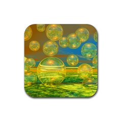 Golden Days, Abstract Yellow Azure Tranquility Drink Coasters 4 Pack (Square)