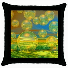 Golden Days, Abstract Yellow Azure Tranquility Black Throw Pillow Case
