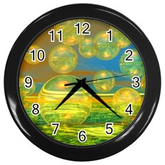 Golden Days, Abstract Yellow Azure Tranquility Wall Clock (Black)