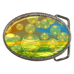 Golden Days, Abstract Yellow Azure Tranquility Belt Buckle (Oval)