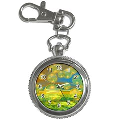 Golden Days, Abstract Yellow Azure Tranquility Key Chain Watch