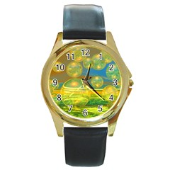 Golden Days, Abstract Yellow Azure Tranquility Round Leather Watch (Gold Rim)