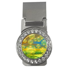 Golden Days, Abstract Yellow Azure Tranquility Money Clip (CZ)