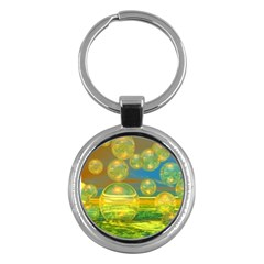 Golden Days, Abstract Yellow Azure Tranquility Key Chain (Round)