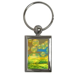 Golden Days, Abstract Yellow Azure Tranquility Key Chain (Rectangle)