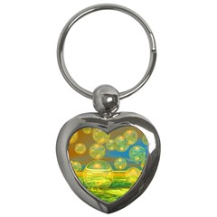 Golden Days, Abstract Yellow Azure Tranquility Key Chain (Heart)