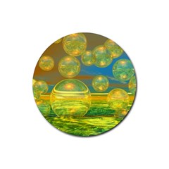 Golden Days, Abstract Yellow Azure Tranquility Drink Coasters 4 Pack (round)