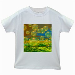 Golden Days, Abstract Yellow Azure Tranquility Kids T-shirt (White)