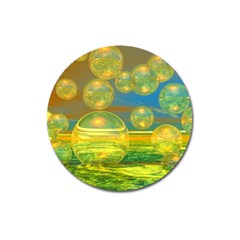 Golden Days, Abstract Yellow Azure Tranquility Magnet 3  (Round)