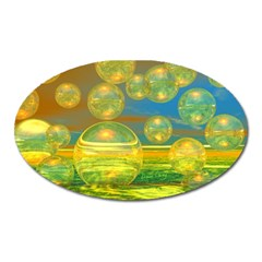 Golden Days, Abstract Yellow Azure Tranquility Magnet (Oval)