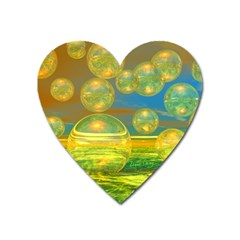 Golden Days, Abstract Yellow Azure Tranquility Magnet (Heart)